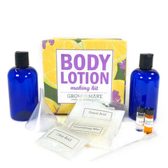 Body Lotion Making Kit with lavender and lemon essential oils, stearic acid, emulsifying wax, citric acid, potassium sorbate, bottles, instructions, funnels, labels