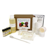 Lip Balm Making Kit with tubs and flour flavors - strawberry, vanilla, apple, cherry berry