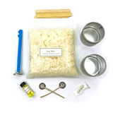 DIY Vanilla Soy Wax Candle Making Kit includes supplies for beginning candlemakers: soy wax, wicks, tin containers, vanilla scent, thermometer, instruction booklet