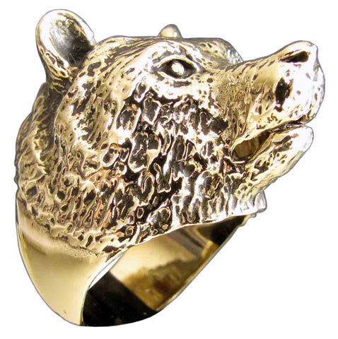 Grizzley Bear Ring Spirit Animal Totem in Bronze - Size 16