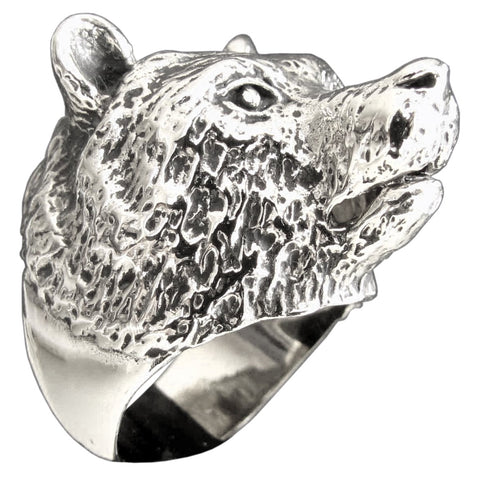 Grizzley Bear Ring Spirit Animal Totem in Sterling Silver 925