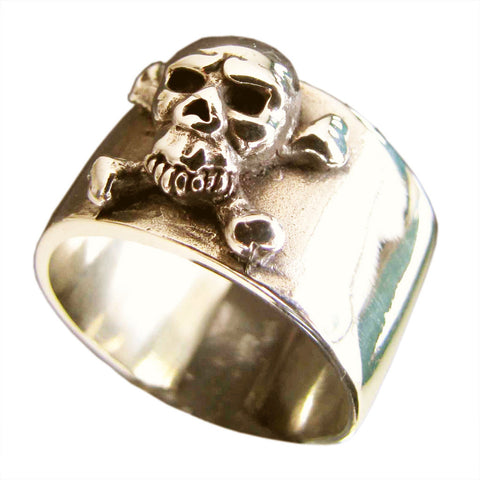 Bronze Pirate Ring Skull and Cross Bones Outlaw Biker Ring