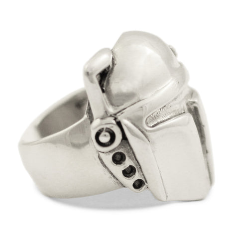 Sterling Silver Boba Fett Ring - Star Wars Mandalorian Bounty Hunter Ring
