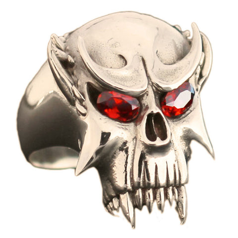 Bronze Vampire Skull Ring With Red Diamond Eyes Dracula Nosferatu Biker Ring