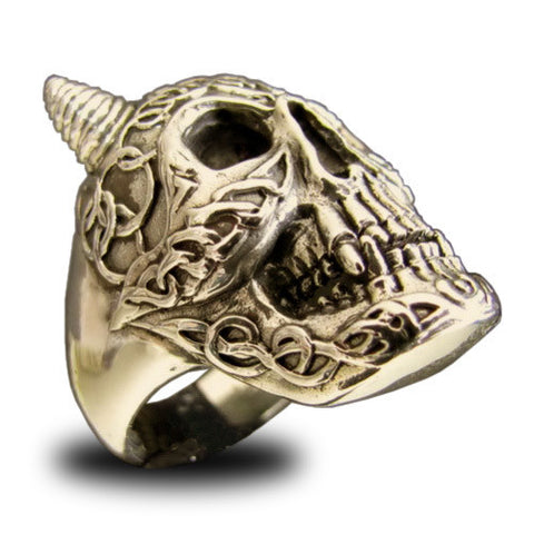 Elaborate Celtic Skull Ring in Bronze with Runes and Carvings