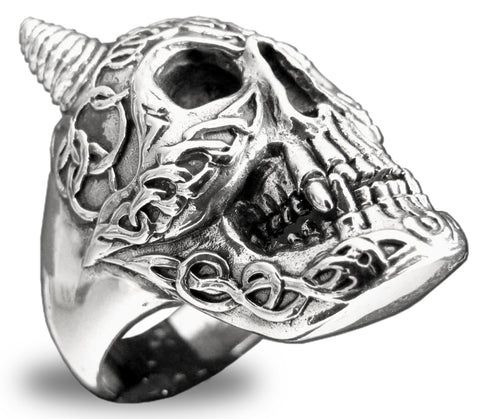Elaborate Celtic Skull Ring in Sterling Silver 925 with Runes and Carvings