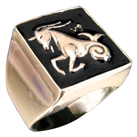 Capricorn Ring Capricornus Zodiac Astrology Symbol in Bronze