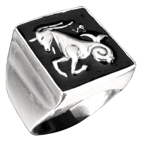 Capricorn Ring Capricornus Zodiac Astrology Symbol in Sterling Silver 925