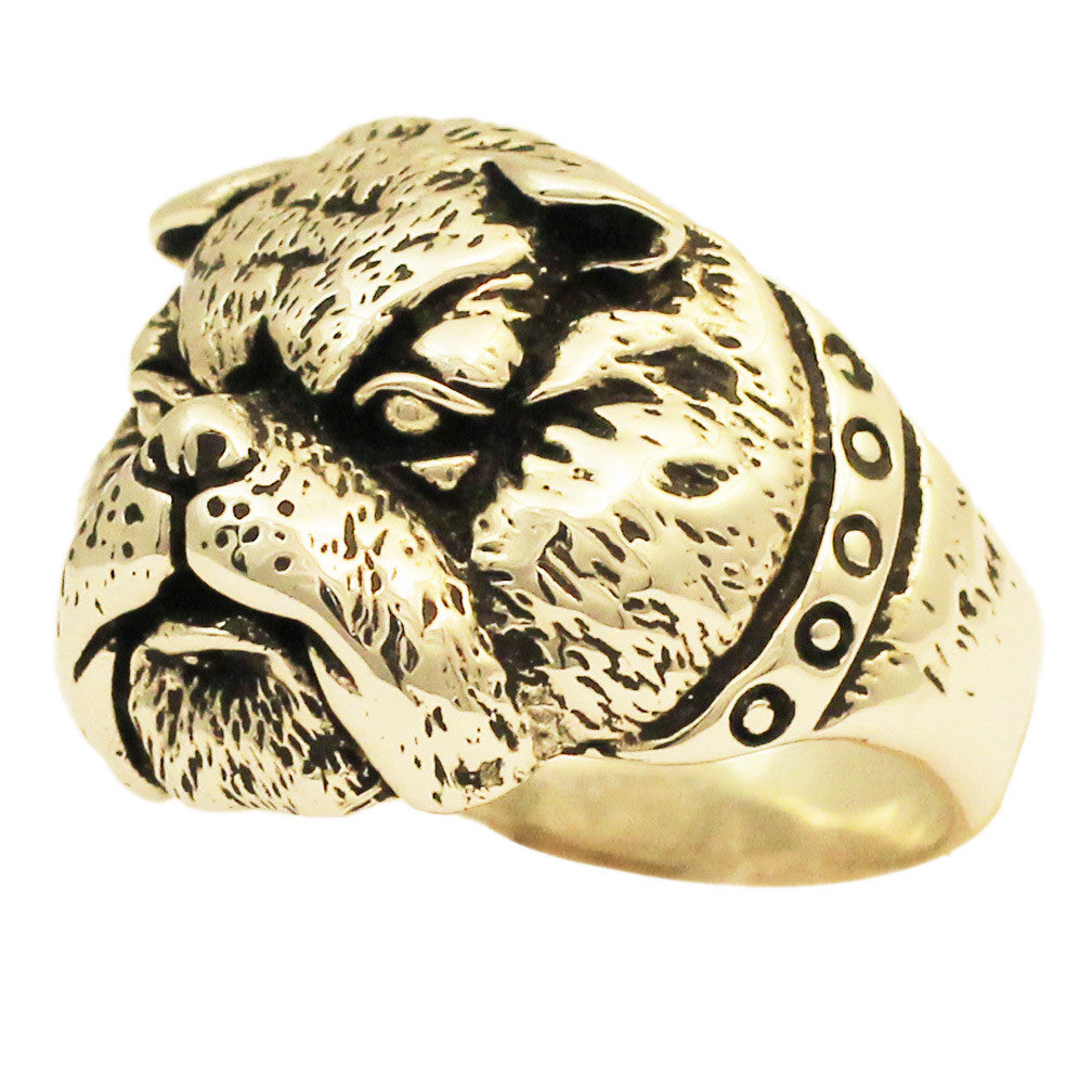 Bronze Bulldog Ring - Army Mascot Pitbull Ring