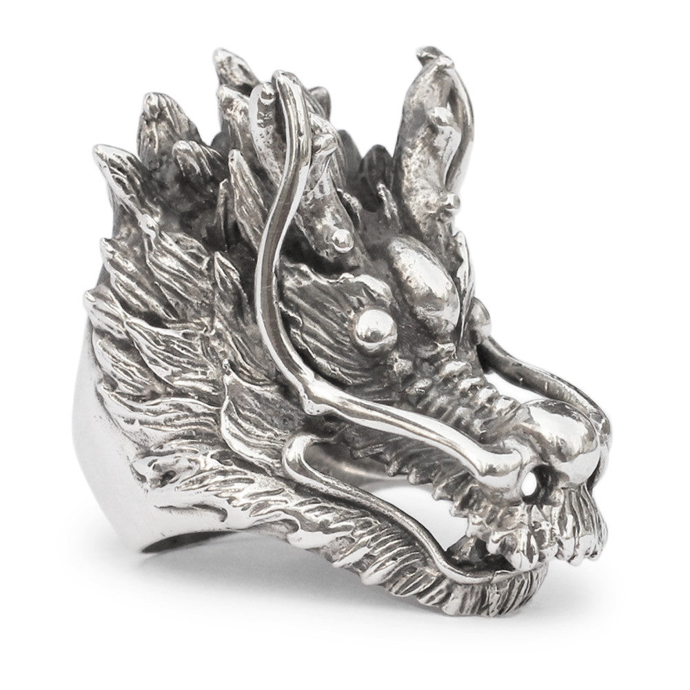 Sterling Silver Dragon Ring Fuchur from Never-Ending Story Dragon Head Ring in Sterling Silver 925