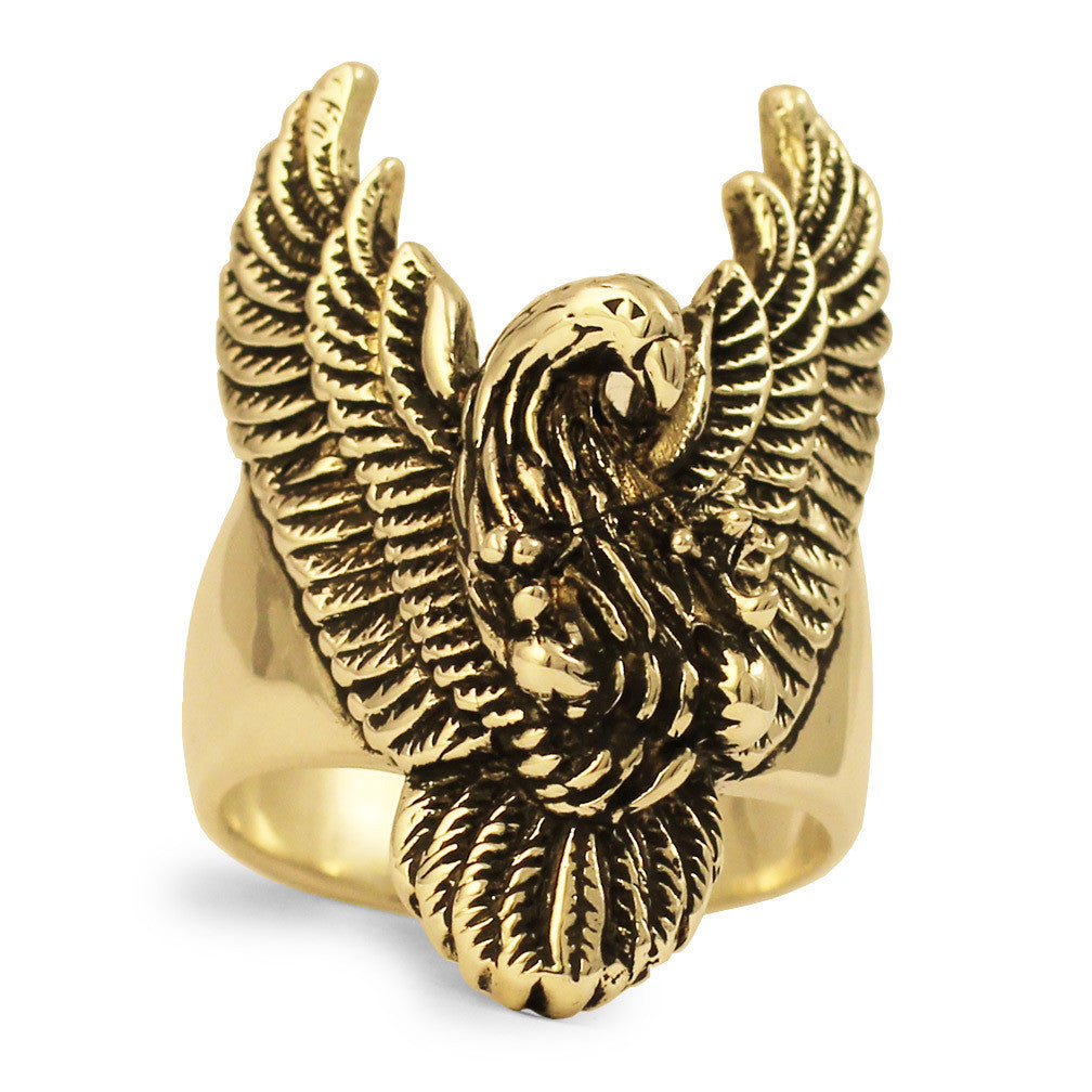 Bronze Giant Eagle Ring Swooping Spread Wings Eagle
