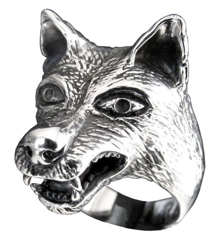 Large Coyote Wolf Ring in Sterling Silver 925 Spirit Animal