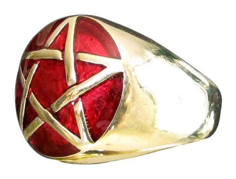 Bronze Pentacle Ring Celtic Pentagram Wicca Symbol with Red Enamel