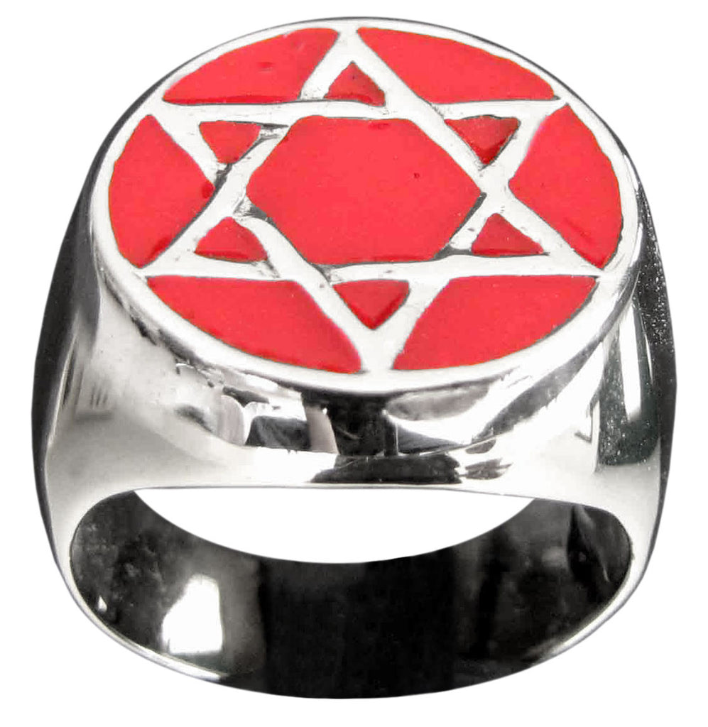Star of David Ring Hexagram in Sterling Silver 925 With Red Enamel