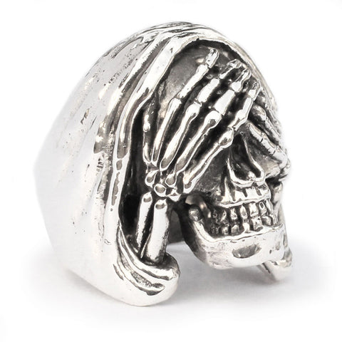 Sterling Silver 925 See No Evil Sterling Silver 925 Skull Ring -Grim Reaper Biker Ring Custom Fitted Sizes