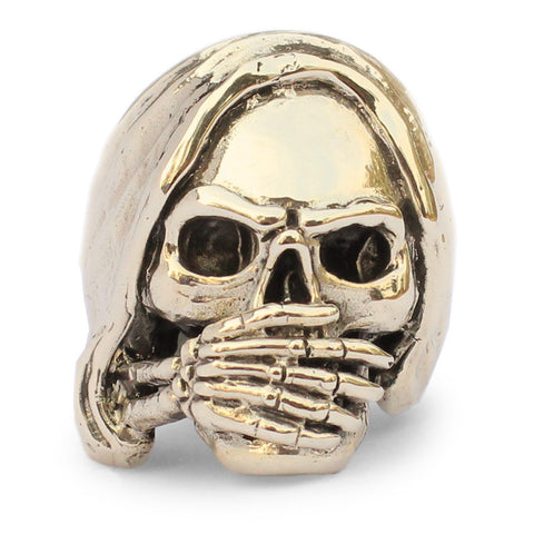 Bronze Speak NO EVIL Bronze Skull Ring -  Grim Reaper Biker Ring
