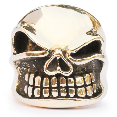 Bronze Grinning Skull Ring Winking Bully Skull Biker Ring Bronze