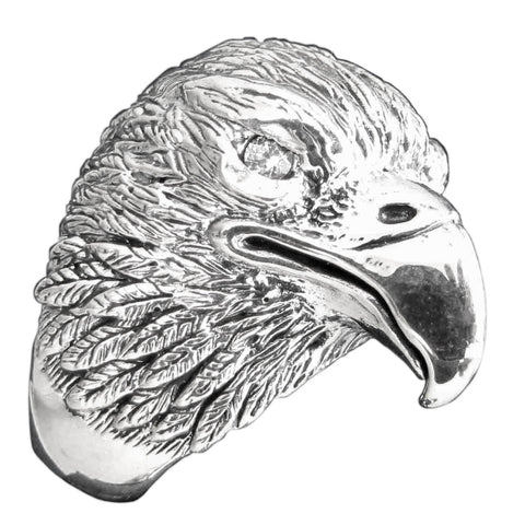 Golden Eagle Ring Detailed Animal Bird Totem in Sterling Silver 925
