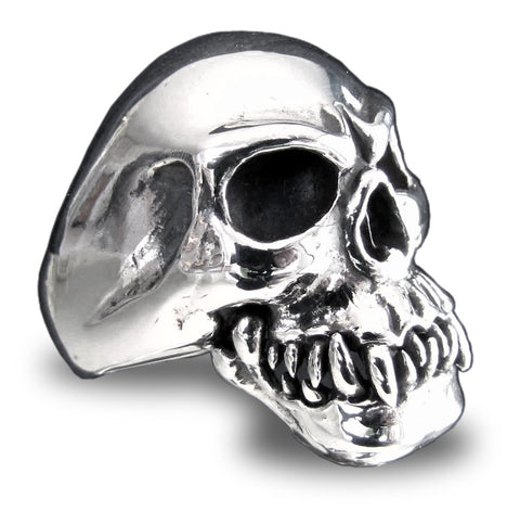 Cannibal Zombie Skull Ring in Sterling Silver 925