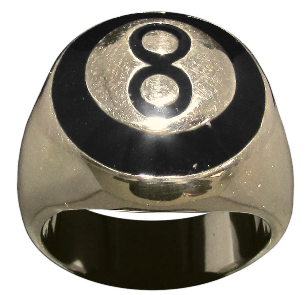 8 Ball Ring With Black Enamel, Eight Ball in Bronze