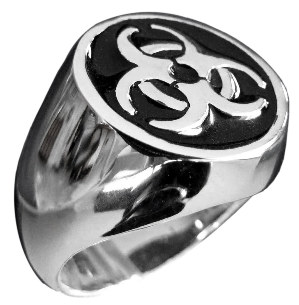 Resident Evil Ring Biohazard Toxic Waste Symbol in Sterling Silver 925 with Black Enamel