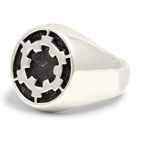 Sterling Silver Death Star Ring Galactic Empire Imperial Crest in Sterling Silver 925 Star Wars Ring