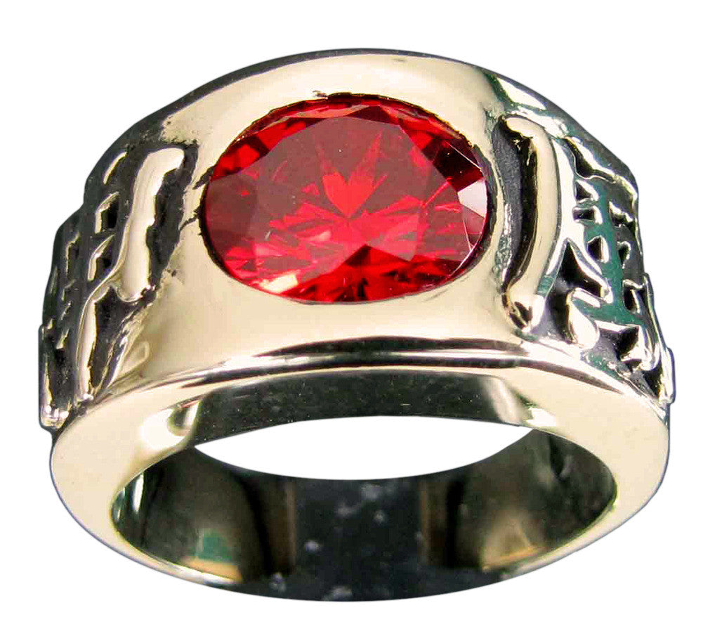Kamikaze Ring Japanese Band with Red Diamond in Bronze