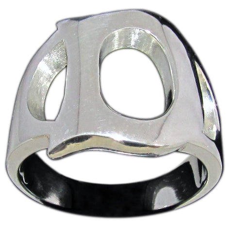 Capital Initial D Ring Block Letter in Sterling Silver 925