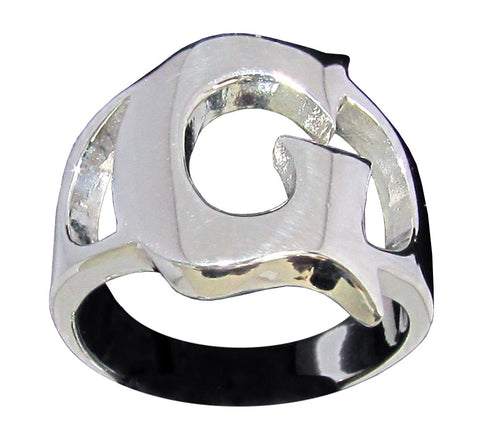 Capital Initial G Ring Block Letter in Sterling Silver 925