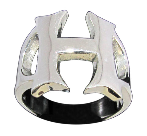 Capital Initial H Ring Block Letter in Sterling Silver 925
