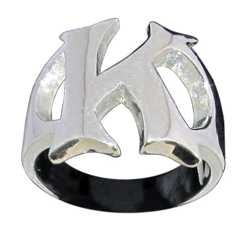 Capital Initial K Ring Block Letter in Sterling Silver 925
