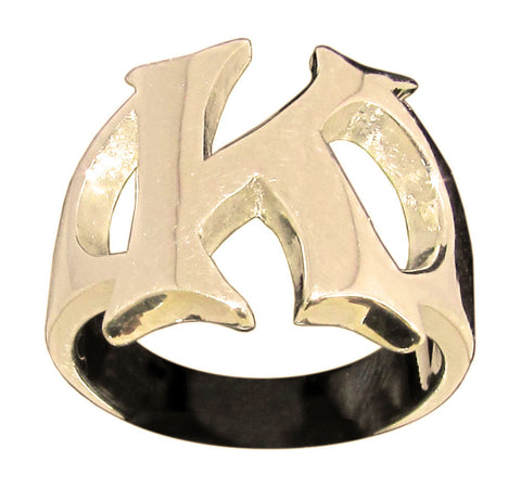 Capital Initial K Ring Block Letter in Bronze