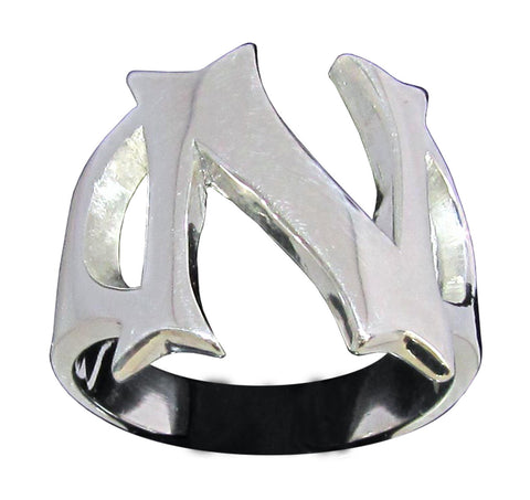 Capital Initial N Ring Block Letter in Sterling Silver 925