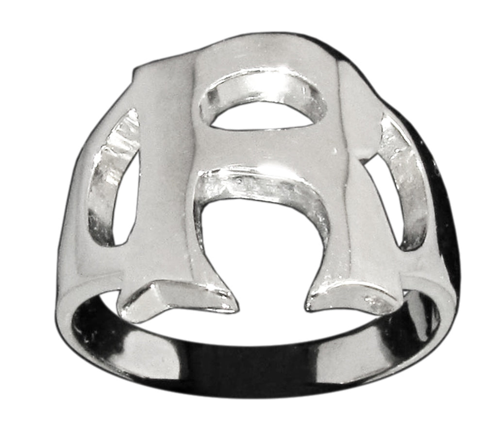 Capital Initial R Ring Block Letter in Sterling Silver 925