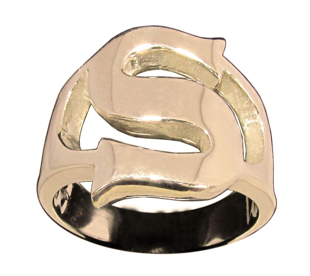 Capital Initial S Ring Block Letter in Bronze