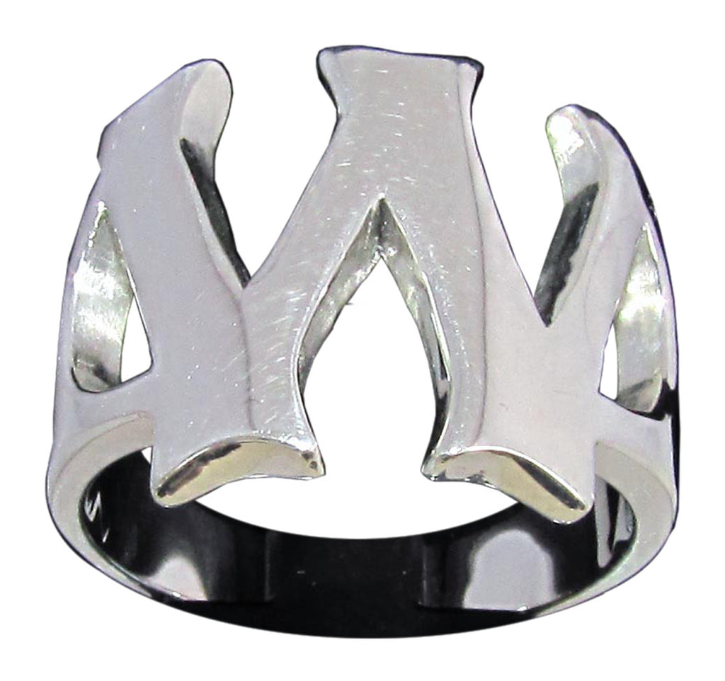 Capital Initial W Ring Block Letter in Sterling Silver 925