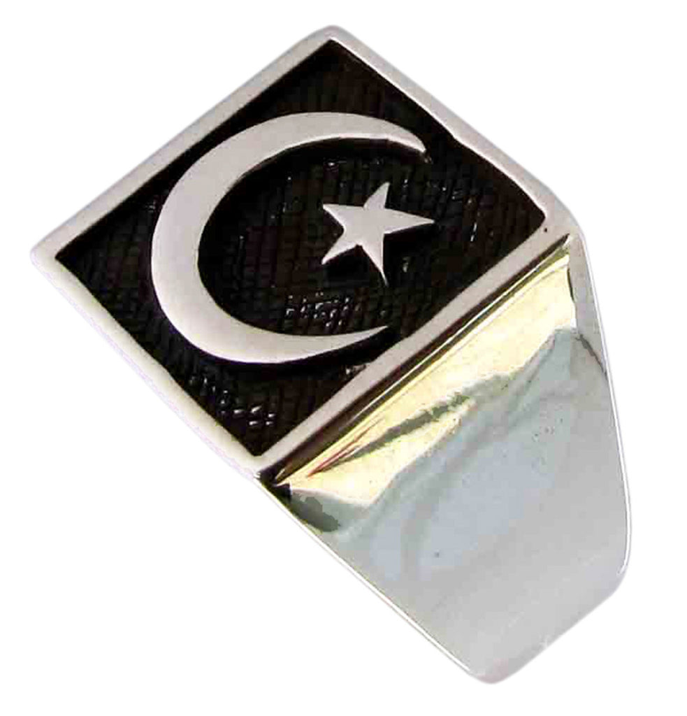 Star and Crescent Ring Symbol of Islam in Sterling Silver 925