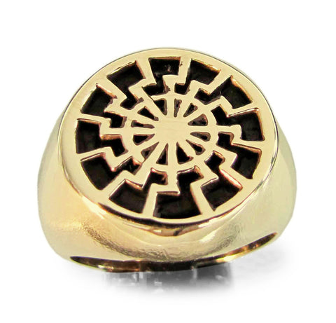 Bronze Black Sun Wheel Occult Symbol Ring
