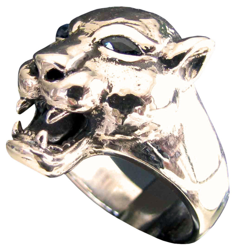 Female Lion Ring with Blue Diamond Eyes in Bronze