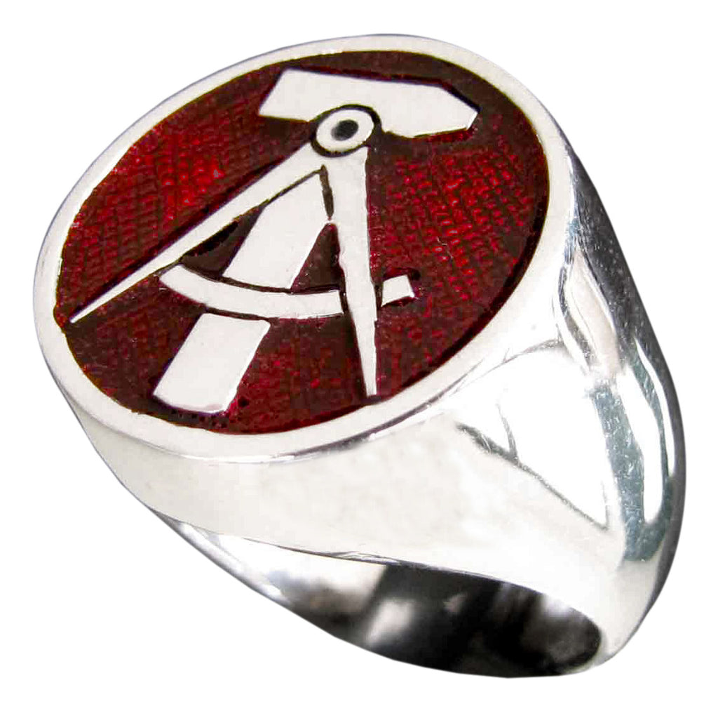 Hammer & Compass Ring East Germany GDR DDR in Sterling Silver 925 with Red Enamel