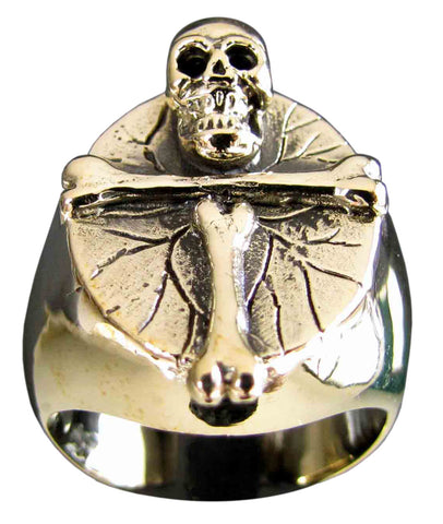 Dracula Cross Ring Skull and Bones in Bronze - Size 16