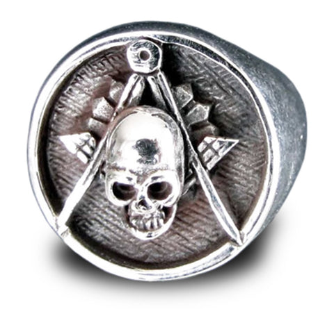 Freemason Ring Skull and Compass Masonic Order in Sterling Silver 925