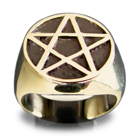 Bronze Pentacle Ring Celtic Pentagram Symbol Wiccan Jewelry