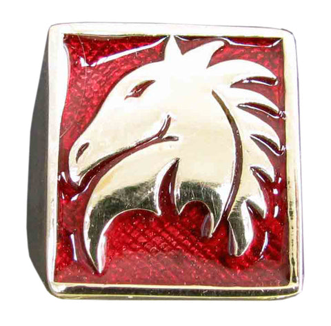 Chess Game Knight Ring Horse Symbol in Bronze - Size 16