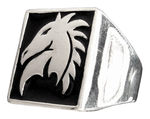 Chess Game Horse Ring Knight Symbol in Sterling Silver 925