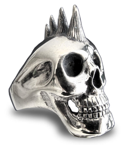 Punk Rocker Skull Ring with Mohawk in Sterling Silver 925