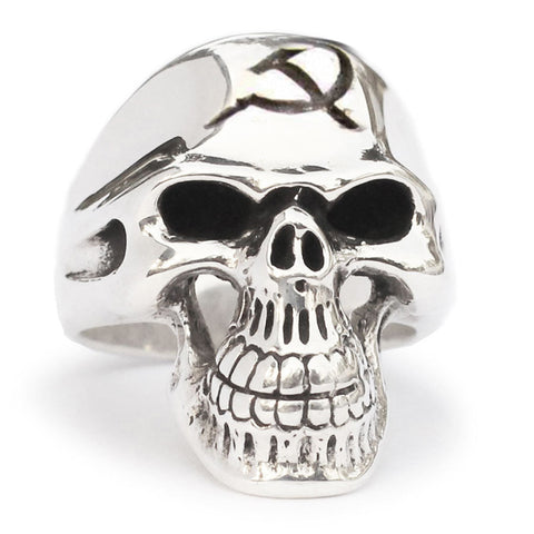 CCCP Skull Ring Hammer and Sickle Communist Crest in Sterling Silver 925