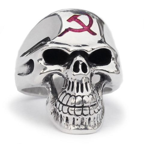 CCCP Skull Ring Hammer and Sickle Communist Crest in Sterling Silver 925 with Red Enamel