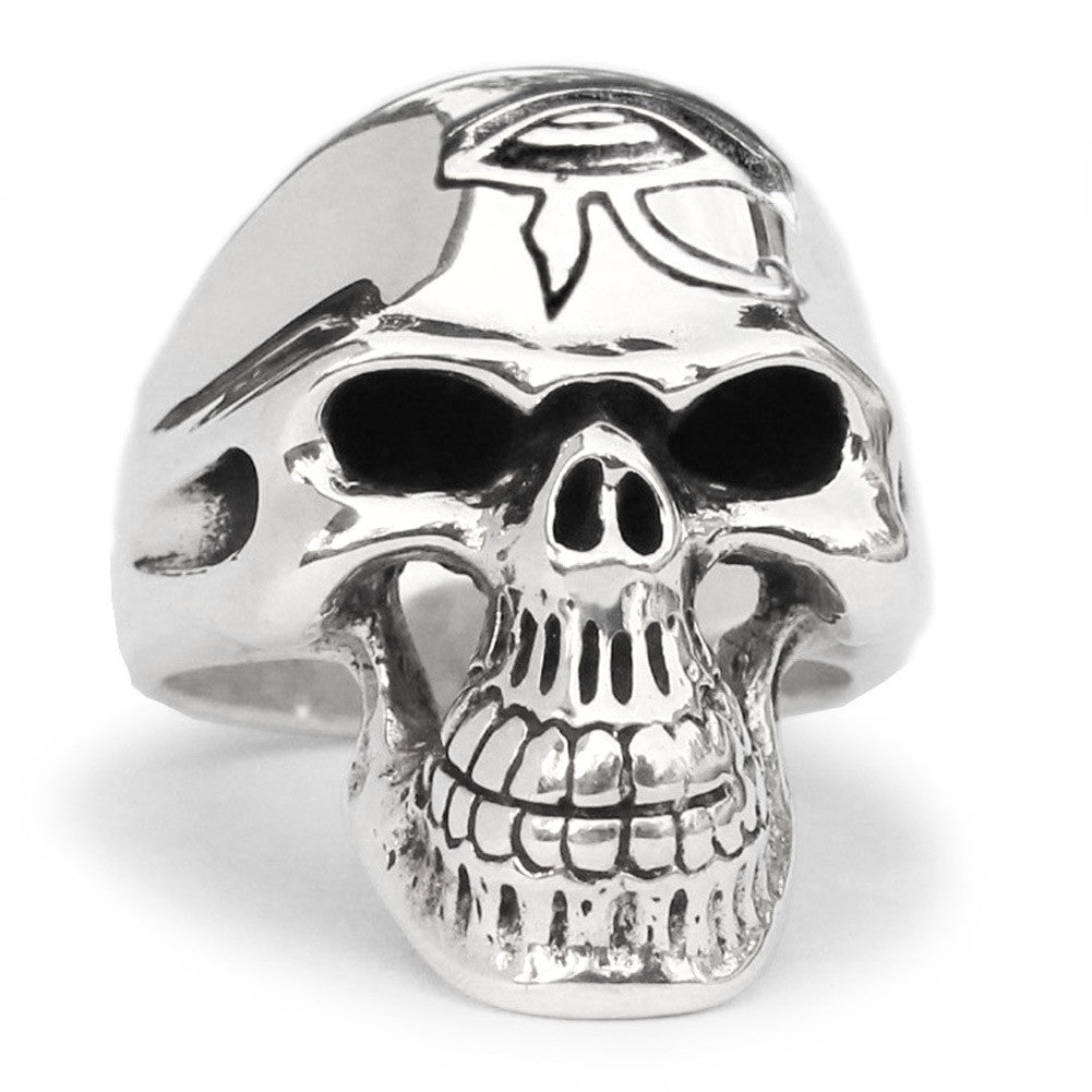 Eye of Horus Skull Ring Grim Reaper in Sterling Silver 925