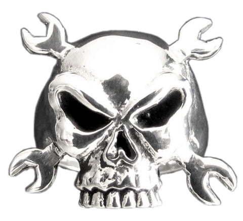 Motorcycle Mechanic From Hell - Cross Wrenches Skull Ring in Sterling Silver 925